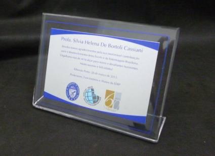 Placa de homenagem acrílico com alumínio